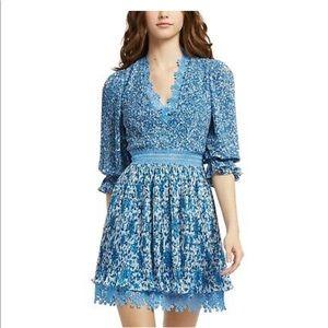 ALICE + OLIVIA Blue Floral Mini Dress